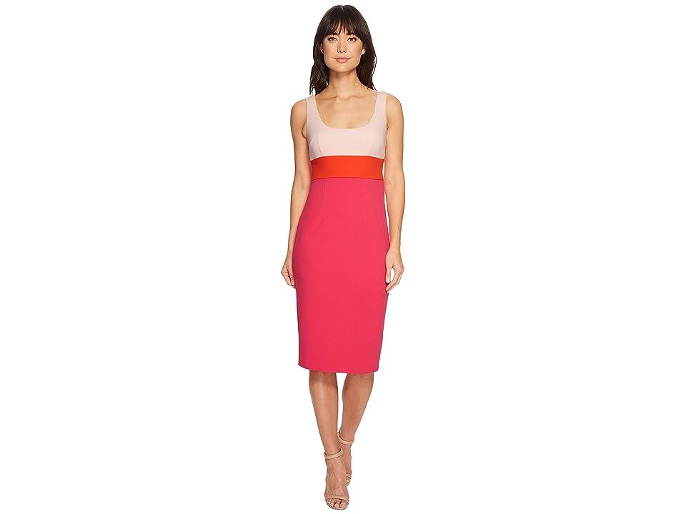 Donna Morgan Sleeveless Scoop Neck Stretch Crepe Bodycon Midi Dress (Blush Pink/Scarlet Red/Shocking Pink) Women