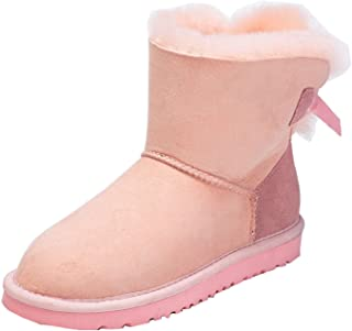 Girls Womens Ribbon Lovely Stylish Cold Weather Snow Winter Mid-Calf Boots
