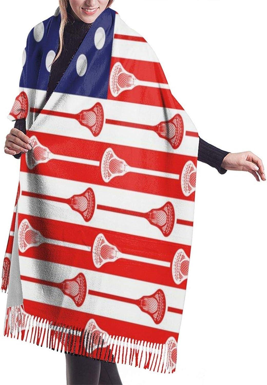 Usa Lacrosse Sticks Flag Ladies Cashmere Fringed Scarf Shawl Winter Thick Warm Scarves