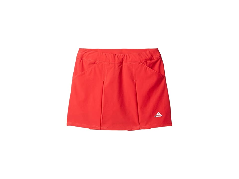 Image of adidas Golf Kids Fashion Pleated Skorts (Big Kids) (Coral Pink) Girl's Skort