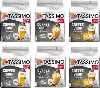 Tassimo Coffee Shop Selections Coffee Bundle - Tassimo Coffee Shop Chai Latte/Typ Flat White/Typ Toffee-Nut Latte - 6 Paquetes (48 Porciones)