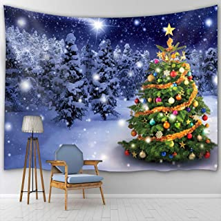 BTTY Christmas Tree Wall Hanging Tapestry Art Painting Decoration for Bedding Living Room Bedroom Dorm Decor Polyester Fabric Tapestry Wall Hanging,59 × 70 Inches