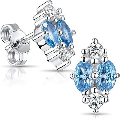 Materia SO-340-bleu Boucles d'oreilles en argent 925 rhodié avec boîte cadeau