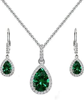 Sterling Silver Genuine, Created or Simulated Gem Teardrop Halo Dangling Necklace & Leverback Earrings