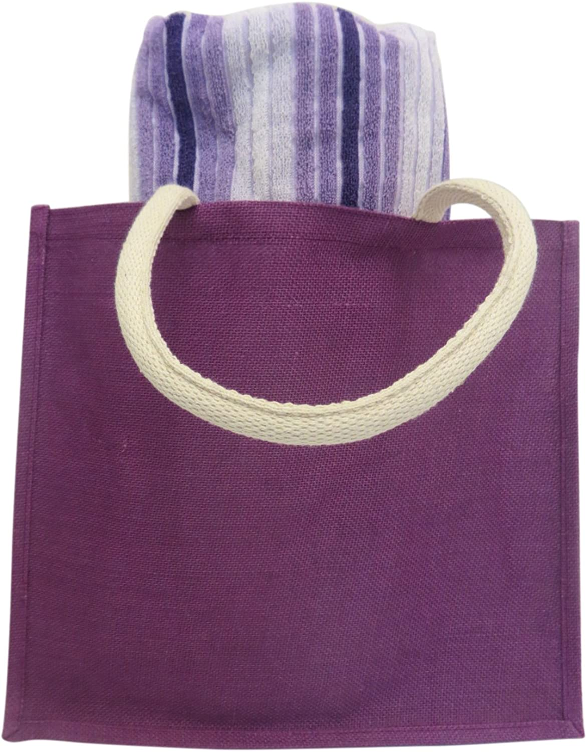 Purple Burlap Beach Bag Large Tote with Striped Beach Towel Gift Set for Girls and Women 40 x 70