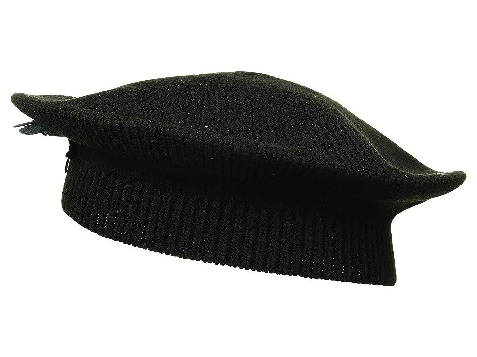 Women's Vintage Hats | Old Fashioned Hats | Retro Hats LAUREN Ralph Lauren Floral Embellished Beret Black Berets $48.00 AT vintagedancer.com