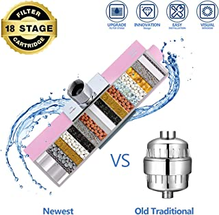 Shower Filter, Newest 18 Stage Universal Water Softener Showerhead Filters with a Visible Window Remove Chlorine Fluoride Heavy Metal Rich Skins and Hairs Health - Lovely Pink