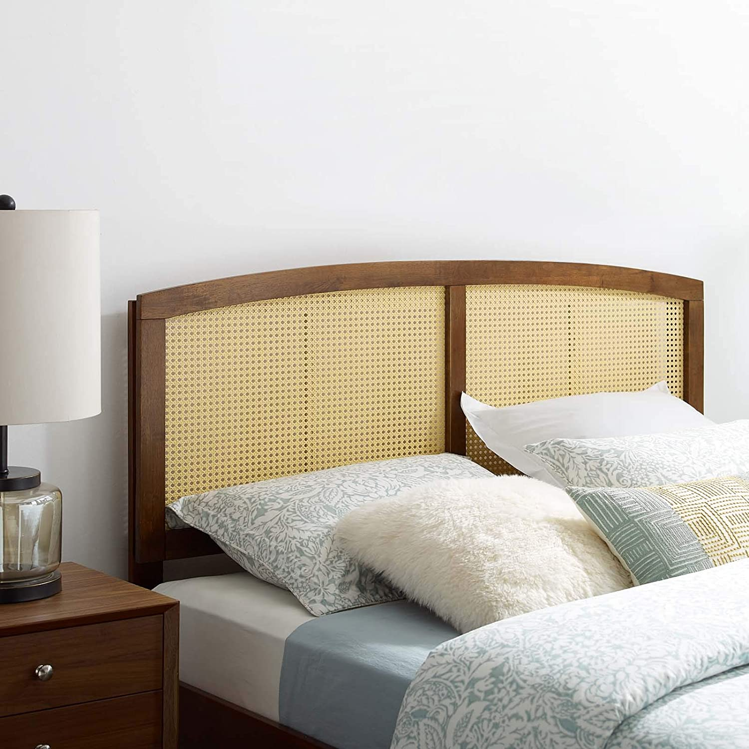Modway Halcyon Cane Max 79% OFF security Woven Rattan Headboard Walnut in Queen