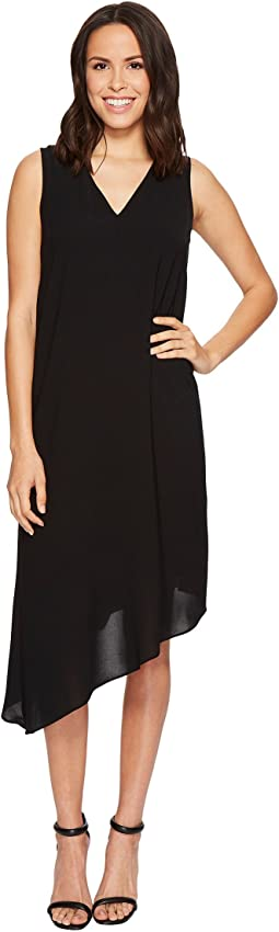 Adrianna Papell - Gauzy Crepe Asymmetrical Trapeze Dress with V Neckline, V Cut Out Back, and Back Ruffled Drape, Fully Lined