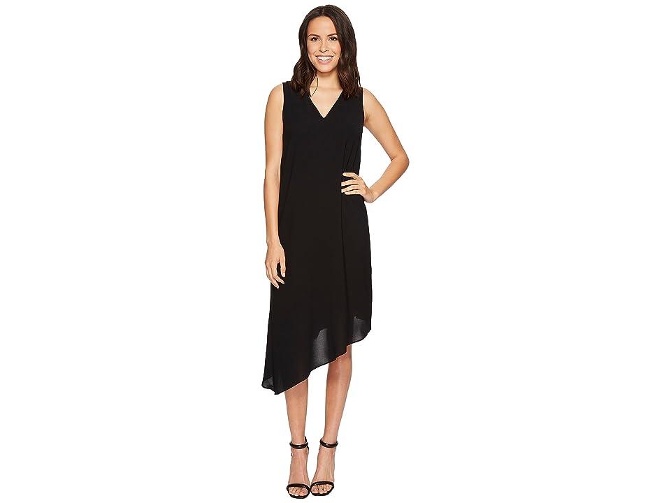 Adrianna Papell Gauzy Crepe Asymmetrical Trapeze Dress (Black) Women