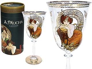 CARMANI - Joli verre à vin décoré avec la peinture « Emeraude » d'Alphonse Mucha 350 ml