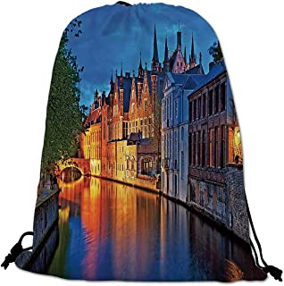 Medieval Decor Lightweight Drawstring Bag,Night Shot of Historic Middle Age Building along the River in Bruges Heritage Old Town Photo for Travel Shopping,One_Size