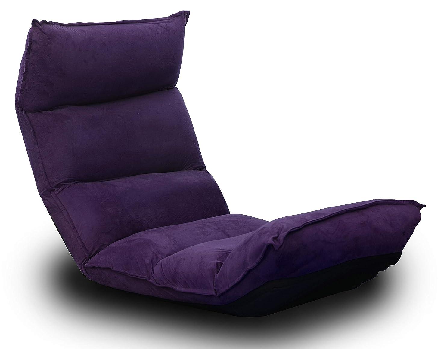 有彩色のカート白雪姫SEIKOH 座椅子 リクライニング 低反発 14段ギア リクライニングチェア 座いす 座イス コンパクトソファ パープル FGC001NA