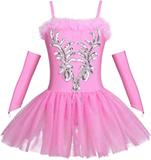 Girl Sequined Beads Fairy Ballerina Swan Costume Ballet Dance Leotard Spaghtetti Tutu Dress with Gloves Hair Clip Set
