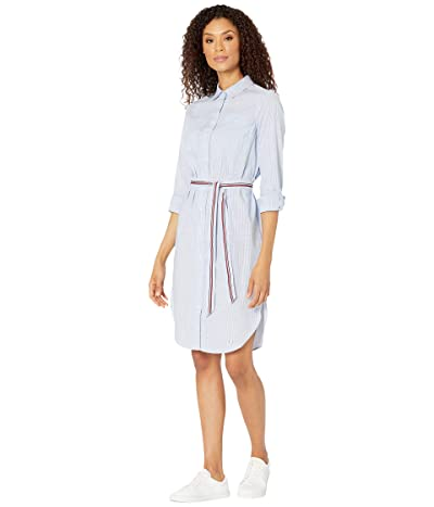 Tommy Hilfiger Adaptive Columbia Striped Tie Waist Shirtdress with Hidden Magnetic Closure (Nebulas Blue/Multi) Women