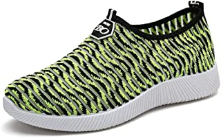 Men's Shoes-Women's Athletic Sneakers Summer Casual Net Surface Knitting Net Surface a Foot Pedal Lazy Person Sports Walking Shoes Fashion (Color : Green, Size : 37 EU)