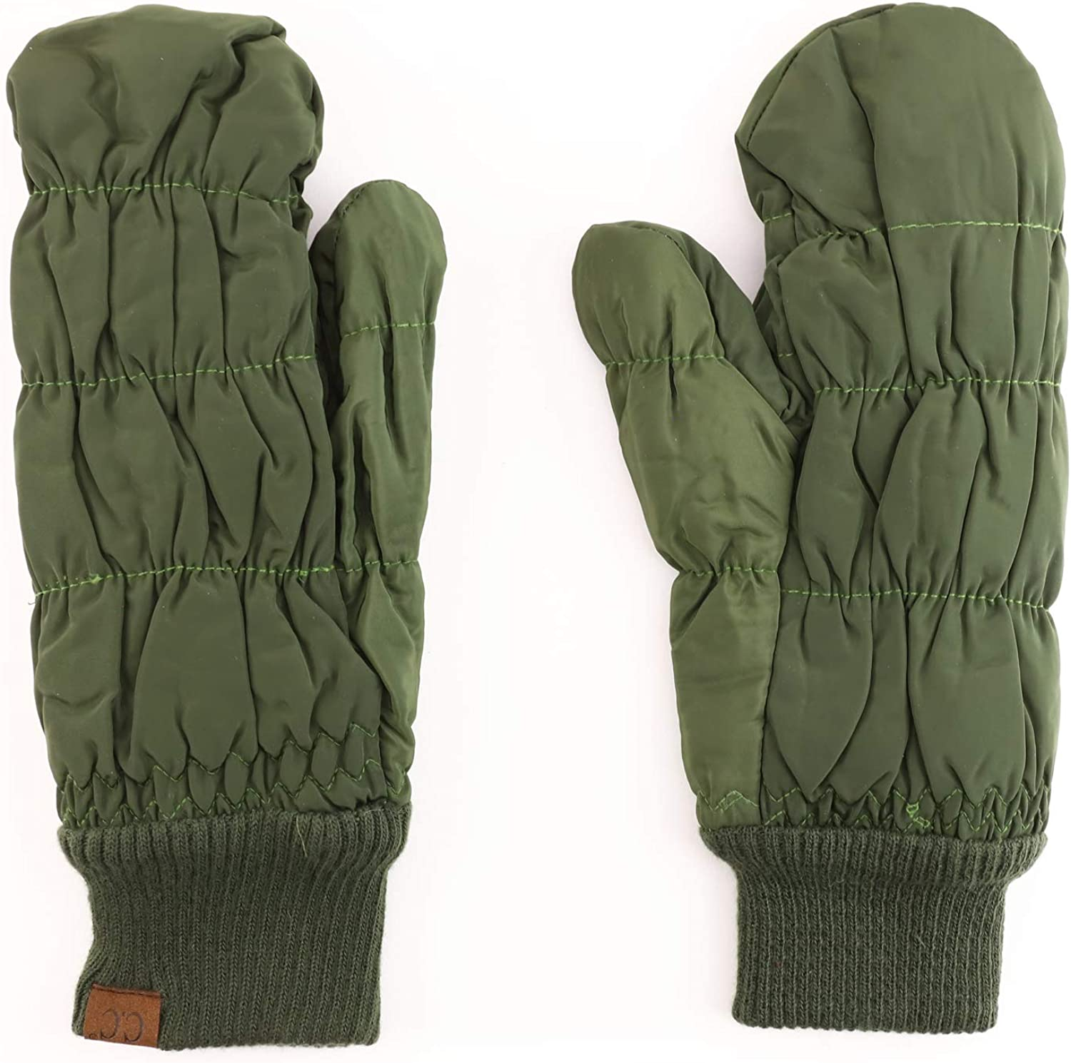 Trendy Apparel Shop Quilted Puffer Mitten Glove with Fleece Lining