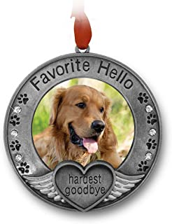 BANBERRY DESIGNS Pet Memorial Ornament - Picture Ornament for a Pet - Engraved with The Saying Favorite Hello, Hardest Goodbye - Pet Remembrance