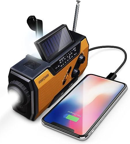 FosPower Radio d'urgence Météo 2000mAh (modèle A1) solaire/manivelle/à piles chargeur de batterie portable avec AM/FM...