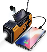 FosPower Emergency Solar Hand Crank Portable Radio, NOAA Weather Radio for Household and Outdoor Emergency with AM/FM, LED...