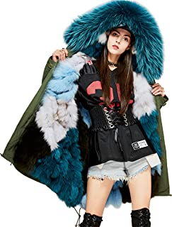 Melody Women's Luxurious Real Fox Fur Liner Parka Raccoon Fur Collar Hooded Coat Thick Winter Long Jacket