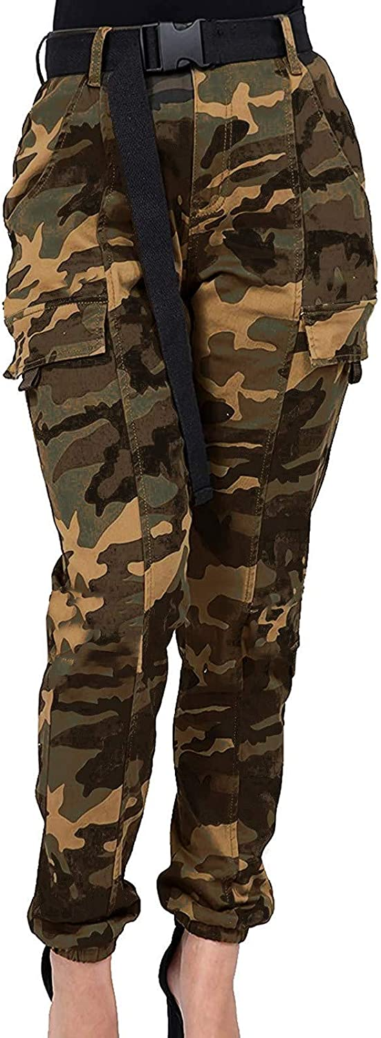 Forwelly Women's High Waist Button up Cargo Fashion Camouflage Leggings Plus Size Long Trousers