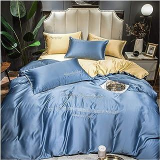 JYBHSH Se lavan Seda del lecho, Ropa de Cama cómoda, Dormitorio del hogar Colcha, Color sólido Funda nórdica, 4 Piezas (Color : 7, Size : Flat Bed Sheet)