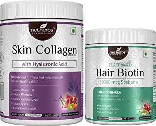 Neuherbs skin Collagen Booster with Hyaluronic acid -210 g & Plant based Hair Biotin 10000 mcg Sesbania -125 g   Biotin fo...