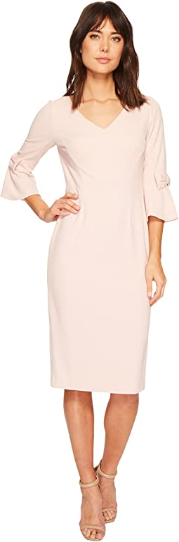 Ivanka Trump - Bell Tie Sleeve Scuba Crepe Compression Midi Dress