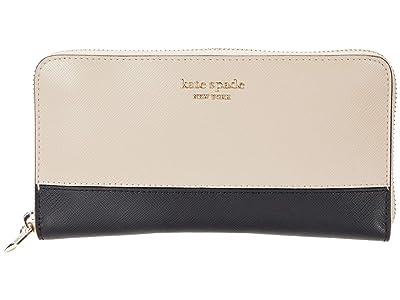 Kate Spade New York Spencer Zip Around Continental Wallet (Warm Beige/Black) Wallet