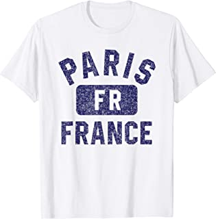 Paris FR Gym Style Distressed Navy Blue Print T-Shirt