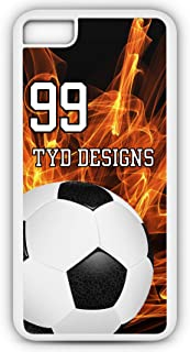 iPhone Tough Case Fits Models 6s or 6 Create Your Own Soccer SC1004 with Player Jersey Number and/Or Name Or Team Name Customizable by TYD Designs in Tough White