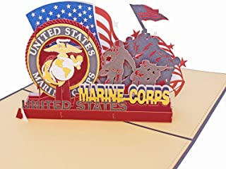 AITpop Father's Day Greeting Card - Soldiers of U.S. Marine Corps Retired Commemorative Crad - Birthday Card, Anniversary Card,Thank You Card,3D Pop Up Card