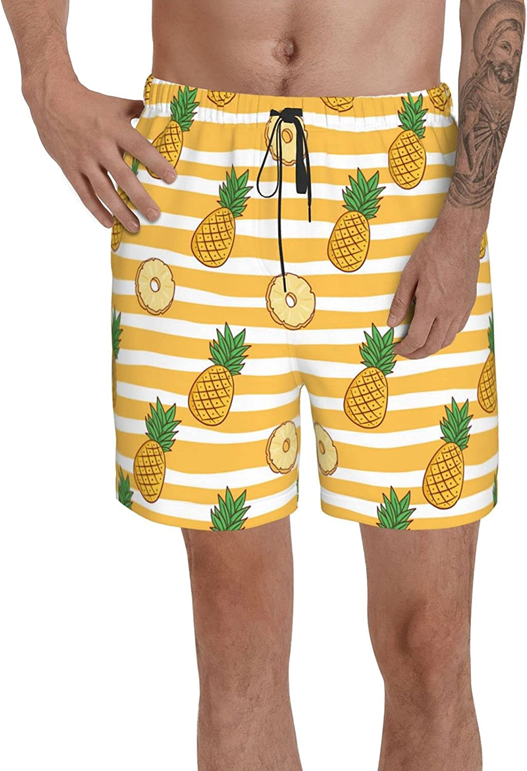 PNNUO Mens Cute Colored Pineapple Swim Trunks Beach Surf Board Shorts Quick Dry Mesh Lining