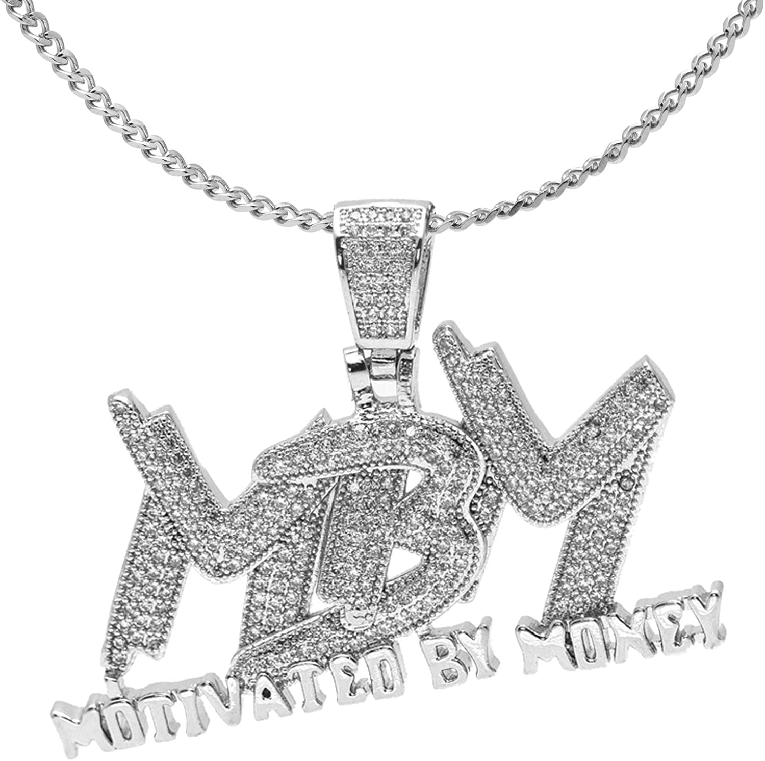 Nsitbbuery Hip Hop DJ Plated 18K Gold Ice Out Crystal Letter Tag Pendant Stainless Steel Chain Necklace