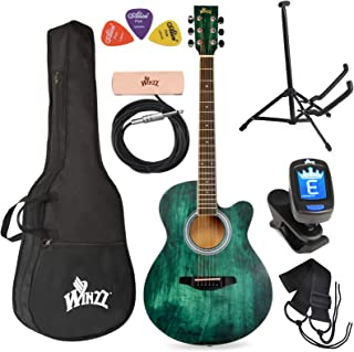 Best WINZZ 40 Inches Cutaway Acoustic Guitar Beginner Starter Bundle with Padded Bag, Stand, Tuner, Pickup, Strap, Picks, Dark Hunter Green Review