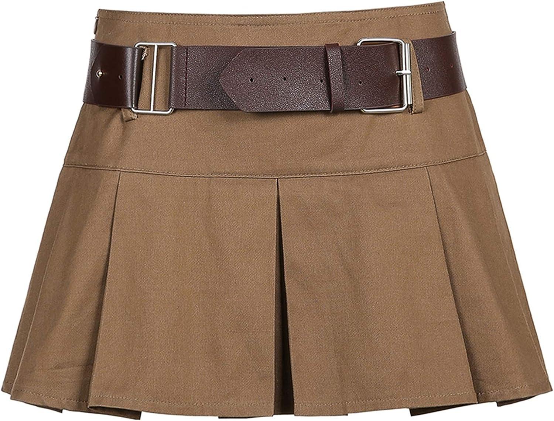 HUHOO Women's Stretch Flared Mini Skater Skirt High Waist A-line Pleated Ruffle Short Mini Denim Skirts