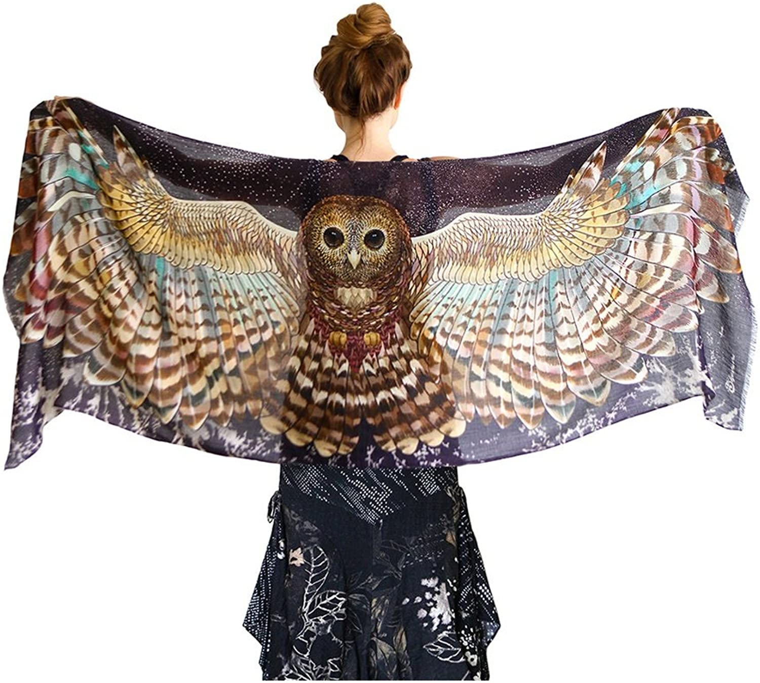 Owl Scarf. Wearable Hand Painted & Digitally Printed Night Owl Artistic Scarf