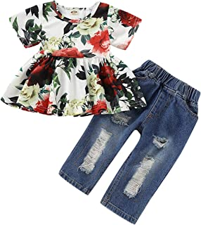 NZRVAWS Baby Girl Clothes 2PCS Ruffle Outfits Short Sleeve Floral Shirt Tops+ Denim Pants Ripped Jeans for Girls