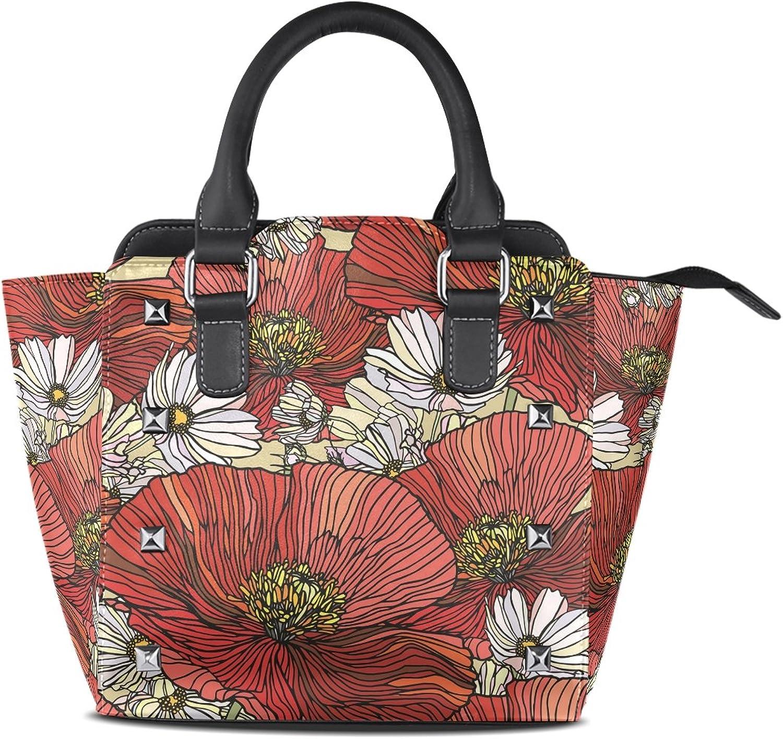 Sunlome Elegance Poppy Flowers Print Handbags Women's PU Leather Top-Handle Shoulder Bags