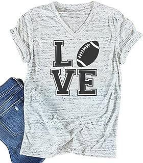 Love Football Funny T-Shirt Women's V-Neck Casual Short Sleeve Tee Tops Blouse