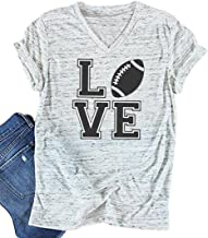 Love Football Funny T-Shirt Women's V-Neck Casual Short Sleeve Tee Tops Blouse