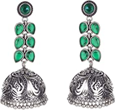 Crunchy Fashion Bollywood Style Traditional Indian Oxidised Silver Jewelry Jhumki Jhumka Earrings for Women/Girls