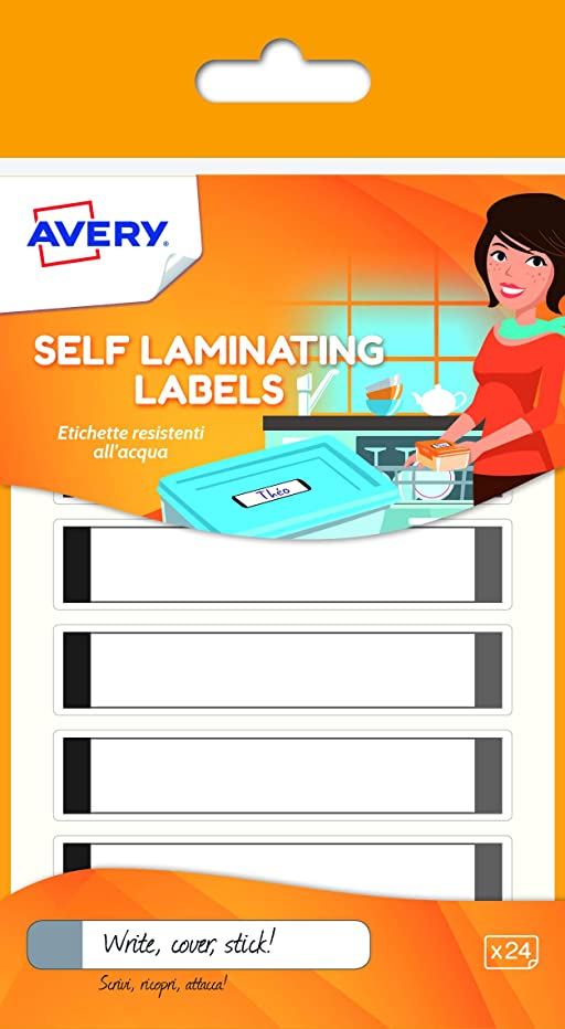 Avery Self Laminating Labels, 86 x 17 mm, 24 Labels Per Pack, White/Grey