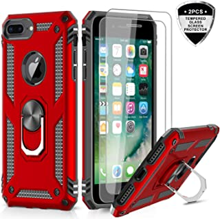 iPhone 8 Plus Case, iPhone 7 Plus Case, iPhone 6 Plus Case, LeYi Military Grade Armor Full-Body Protective Phone Cover Case with 360 Degree Rotating Holder Kickstand for Apple iPhone 6s Plus Red