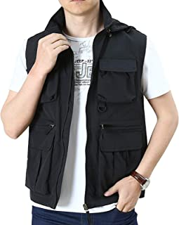 Mens Vest Relaxed Fit Stand Collar Comfortable Sleeveless Jacket Outdoor Work Vests Outerwear with Multiple Pockets