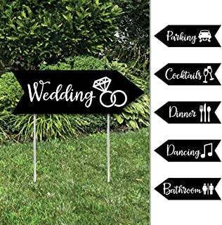 Black and White - Arrow Wedding and Reception Directional Signs - Double Sided Outdoor Yard Sign - Set of 6