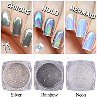 QIMYAR Nail Glitter Neon Chrome Powder Holo Silver Mirror Pigment 3D DIY Laser Rainbow Shiny Dust 3 Bottle