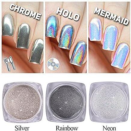 QIMYAR Nail Glitter Neon Chrome Powder Holo Silver Mirror Pigment 3D DIY  Laser Rainbow Shiny Dust 48a07c400410