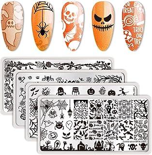 Born Pretty Plantilla de estampación para uñas de la marca Born Pretty con diseño de calabazas fantasmas y murciélagos ...